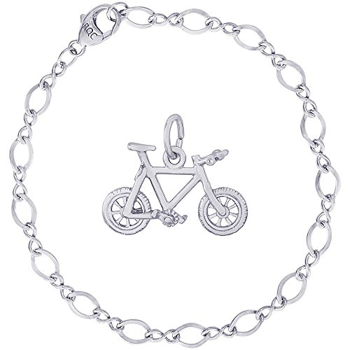 Rembrandt Charms Sterling Silver Mountain Bike Charm on a Figure Eight Link Bracelet, 7'