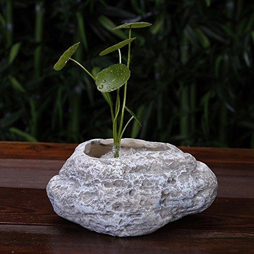 Simulación de maceta de cerámica de piedras para la decoración del hogar original de resina piedra suculentos maceta,C