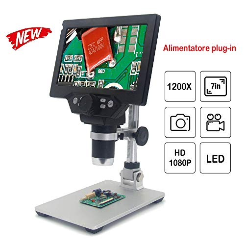 KKmoon G1200 Microscopio Digitale 1X-1200X Lente di Ingrandimento Continua Display LCD ad Alta Definizione da 12 MP da 7 Pollici con Staffa in Alluminio