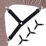 Niaguoji - Set di 4 cinghie elastiche triangolari regolabili con clip, per lenzuola, per materasso, bretelle per biancheria da letto, per la decorazione della casa, colore: nero