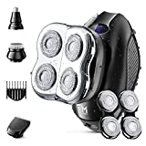 Limural Head Shavers for Bald Men, Electric Rotary Shaver Razor with Extra 2 Blade Sets Wet&Dry, 4-in-1 Small LED Mens Grooming Kit Cordless Rechargeable with Nose Trimmer, Hair Clipper