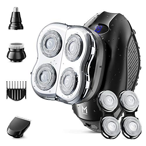 Limural Elektrischer Rasierer für Männer, Herren 5D kleiner Rotationsrasierer mit extra 2 Klingen, 4-in-1 LED-Kopfrasierer Pflegeset für Glatzköpfige Männer Schnurlos mit Nasentrimmer, Haarschneider