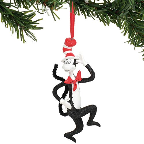 Department 56 Dr. Seuss Cat in The Hat Hanging Ornament, 4.75 Inch, Multicolor