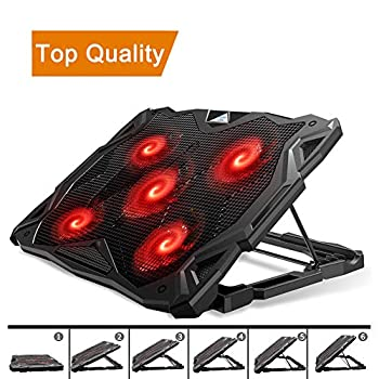 Pccooler Laptop Cooling Pad Laptop Cooler with 5 Quiet Red LED Fans for 12-17.3 Inch Laptop Dual USB 2.0 Ports Portable 6 Angle Adjustable Laptop Stand for Gaming Laptop  PC-R5