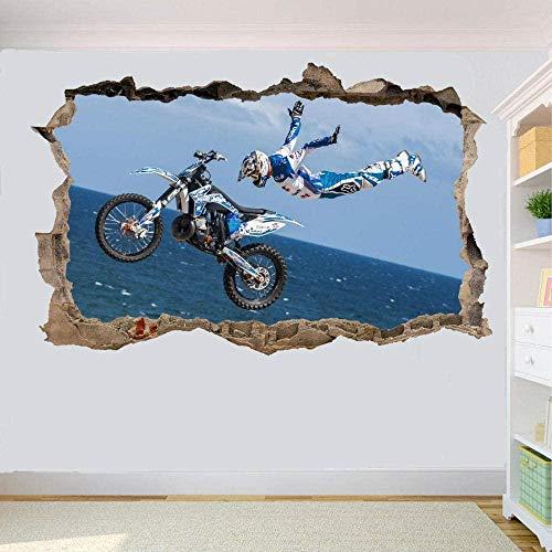 HUJL Pegatinas de pared Hors-Route Moto Hors Route Sauter Sticker Mural 3D Art Mural Bureau Décoration de La Maison