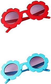 Colcolo - Colcolo 2x Niños Pequeños Lindos Gafas de Sol Vintage con Flores UV400 Verano para Niñas Niños