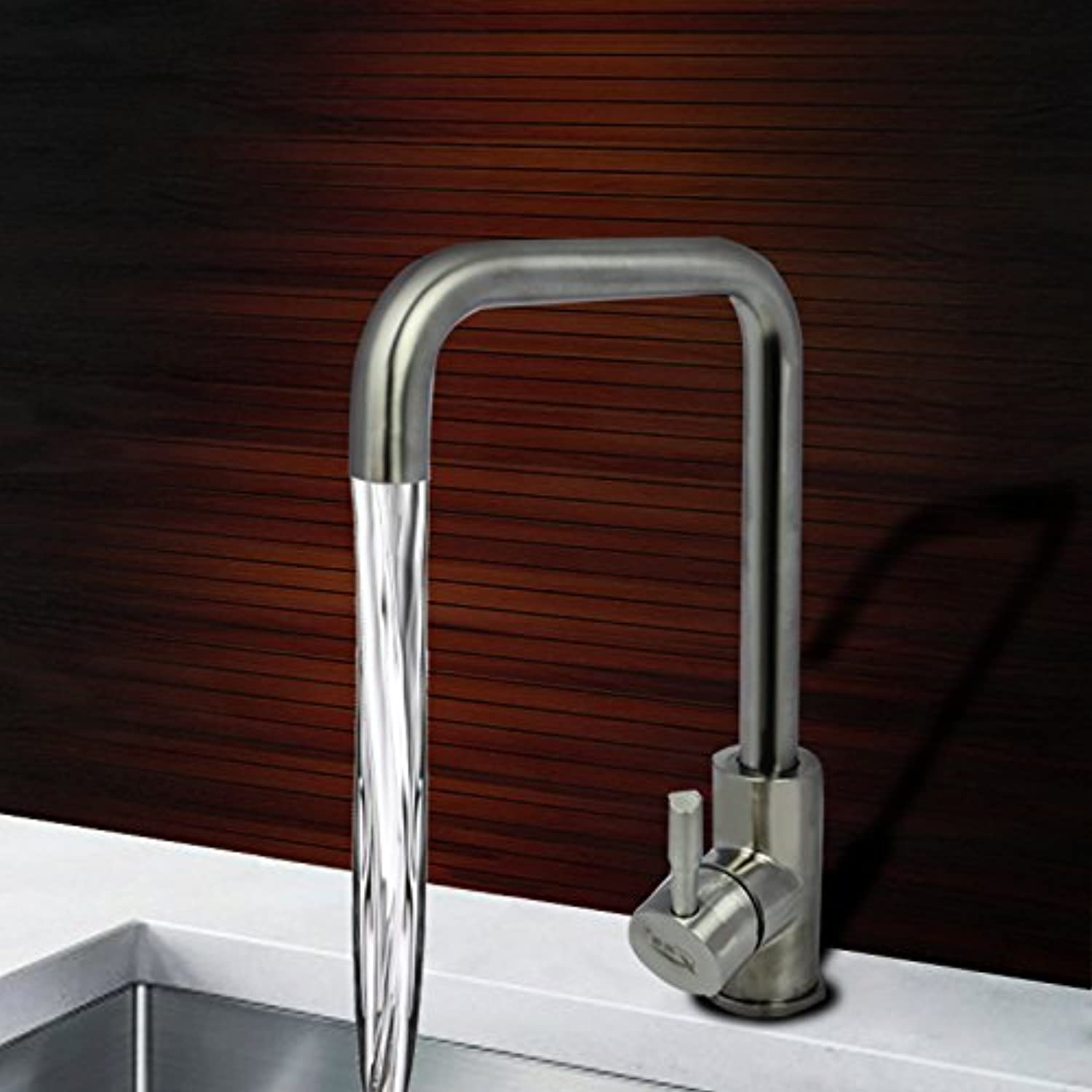 Hlluya Professional Sink Mixer Tap Kitchen Faucet Stainless Steel Kitchen Sinks Faucets, pedestal single-mixing of hot and cold water taps