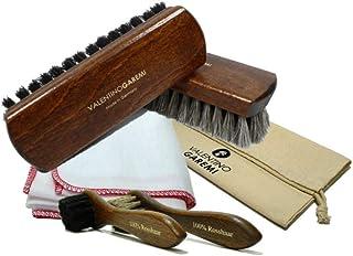 Valentino Garemi Shoe Care Brush Set - 2 Polishing Brushes, Cloth, 2 Applicators Brush - Genuine Horse Hair - Footwear Shi...