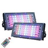 SDlamp 2 Pcs/Lote 50W LED RGB Lámpara De Luz De Inundación, AC 220V Proyector para Exteriores IP65 Reflector A Prueba De Agua Proyector LED, con Control Remoto, para Acuario,Azul