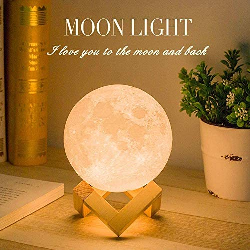 Mopoq 12cm Moon Lamp, 3D Printed Light, Touch Control, Stepless Dimmable, Warm White and Cool White, USB Recharge, Moon Light Lamp for Kids Gift