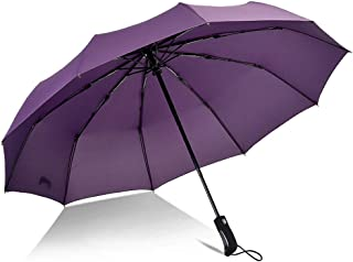 YQRYP Automatic Umbrella Men and Women Large Double Three Folds Open Reinforcement Windproof Umbrella and Rain Umbrella Windproof Umbrella, Golf Umbrella (Color : Purple)