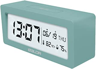 BALDR Compact Digital Alarm Clock with Ultra HD LCD Screen Date & Time Display, Bedside Table Travel Clock, Monitor Temperature Humidity, Large Light Feature Battery Operated (Turquoise)