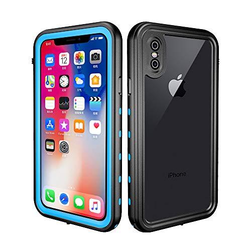 redpepper - Funda Sumergible Compatible con iPhone X/XS Carcasa Impermeable Protección Extrema 360º Certificado IP68 Resistente al Agua, Compatible con Carga Inalámbrica - Negro y Azul Cielo