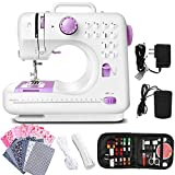 Dechow Sewing Machine for Beginners, Electric Portable, 12 Built-in Stitches with Reverse Sewing, 2 Speeds Double Thread with Foot Pedal, 14 Pcs Floral Cotton Fabric, 20 Pcs Nose Bridge Metal Wire, 21 Yards Elastic Rope, 27 Pcs DIY Sewing Kit Set (Purple)