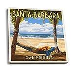 Santa Barbara, California–Hamac et palmiers, Céramique, multicolore, 4 Coaster Set