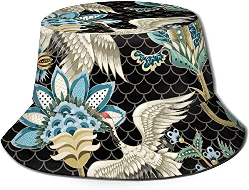 Flat Top Breathable Bucket Hats Unisex Islamic Ornamental Bucket Hat Summer Fisherman's Hat-Ethnic Japanese Ornament Elements and Cranes-One Size