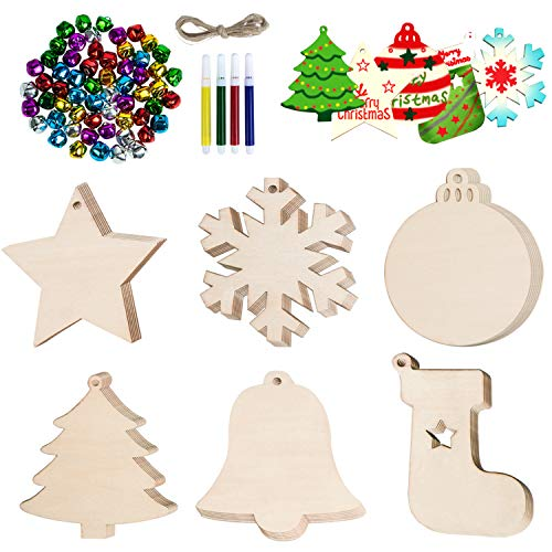 Besteek 125 Pcs Wooden Christmas Ornaments Unfinished Set, 60 Pcs Wood Slices Ornaments for Crafts in 6 Shapes with 32ft String, 60 Pcs Colorful Bells & 4 Colorful Pens, Wood Ornaments for Crafts