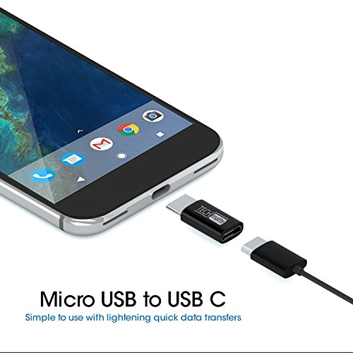 TechMatte Micro USB to USB Type C Adapter Connector for Galaxy Note 8, S8, S8 Plus +, Google Pixel, Pixel 2, Pixel 2 XL, with 56k Resistor; Approved to Meet USB Type-C Standard (2-Pack, Black)