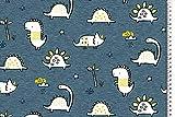 Stoffe-Online-Shop Softshell Dino, blau-gelb