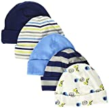 Gerber Baby Boys' 5-Pack Caps, Safari, 0-6 Months