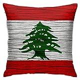 Juego de almohadillas para sofá de la bandera libanesa con textura de madera del Líbano, decoración del hogar, para sala de estar, oficina, coche, cafetería, sofá, cama, dormitorio, 45 x 45 cm