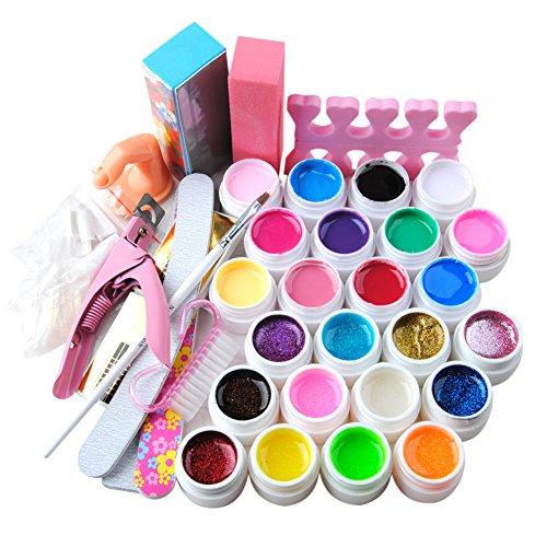 Coscelia Uñas Completo Kit del Nail Art 24 Colores Puro Glitter UV Gel de Uñas Builder Clipper Cepillo Bloque Herramientas de Uñas