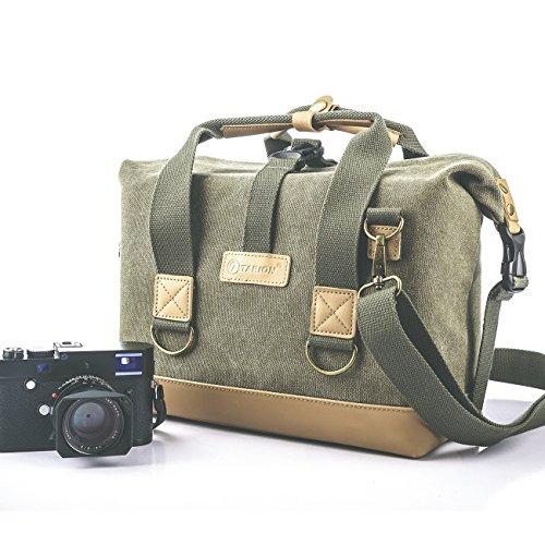 Tarion Borsa della tela impermeabile per fotocamera DSLR SLR Mirrorless. Messenger Bag fotografica, per macchina fotografica digitale, grande borsa a tracolla antiurto, colore verde