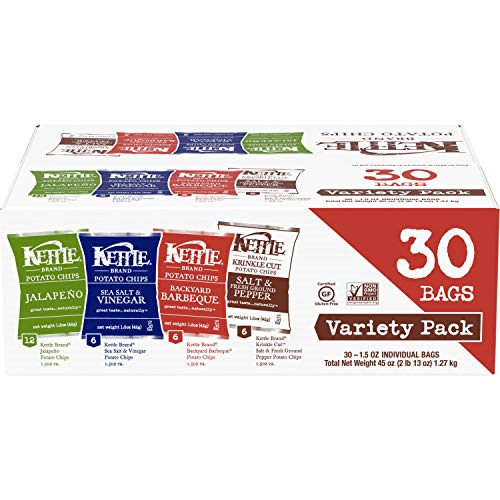 Kettle Brand Potato Chips Variety Pack, Sea Salt & Vinegar, Krinkle Salt & Pepper, Backyard BBQ and Jalapeno, 30 Count