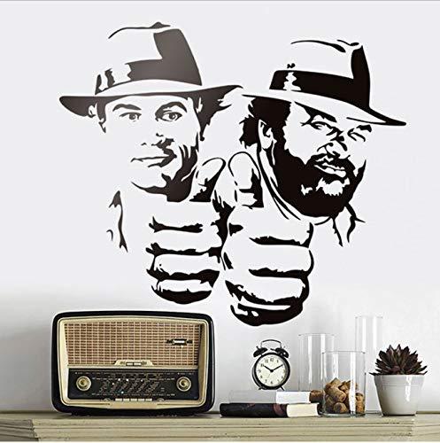 bingcheng Bud Spencer Und Terence Hill Wandaufkleber Lächerlich Lustig Charakter Porträt Vinyl Aufkleber Klassische Film Abbildung Wandbilder 65X57 cm