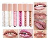 BELLESKY Pearl Lip Gloss Set Diamond Shimmer Glitter Liquid Lipstick Set Long-lasting Moisturizing Lip Stain for Girls and Women (Diamond Series (6PCS))