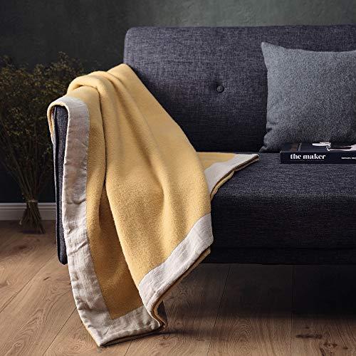 URBANARA Manta de lana Fyn, 220 x 240 cm, color amarillo mostaza/natural, 100% pura lana escandinava, ideal como manta, manta para sofá y cama, cálida manta de lana virgen con ribete de lino