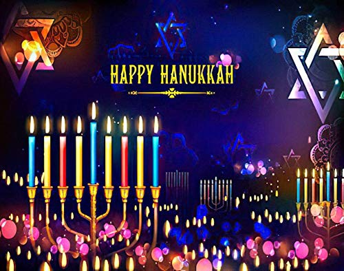 MQPPE Happy Hanukkah DIY Jigsaw Puzzles, Happy Hanukkah Holiday Chanukah Candelabra Candle Candlestick 1000 Pieces Wooden Puzzles Best Family Decompression Games for Adults, 20 x 30 Inches