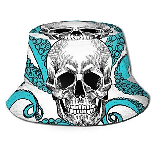Schädel und Tentakel der Octopus Flat Top Atmungsaktive Eimerhüte Unisex-Schädel im Smoke Bucket Hat Summer Fisherman's Hat