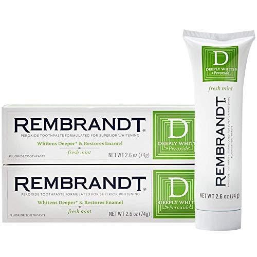 Rembrandt Deeply White + Peroxide Whitening Toothpaste 2.6 oz, 2 Pack, Fresh Mint Flavor | ⭐️ Exclusive