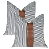 Kiuree Faux Leather Pillow Covers20x20 Set of 2 Striped Outdoor Farmhouse Decorative Throw Pillow Covers forCouch Living Room Bed Modern Boho Decor(Black)