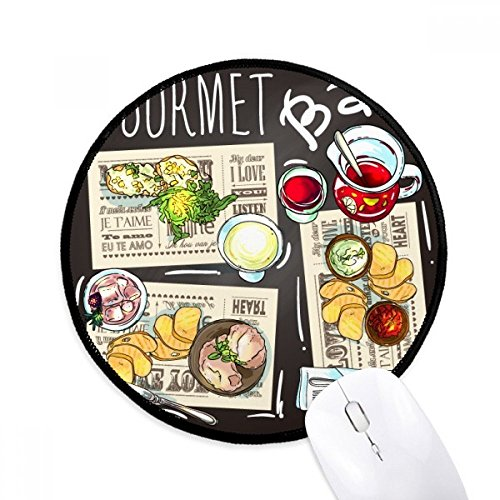 Gourmet Bar Steak Suppe Limonade Runde rutschfeste Mousepads schwarz genähte Kanten Game Office Geschenk