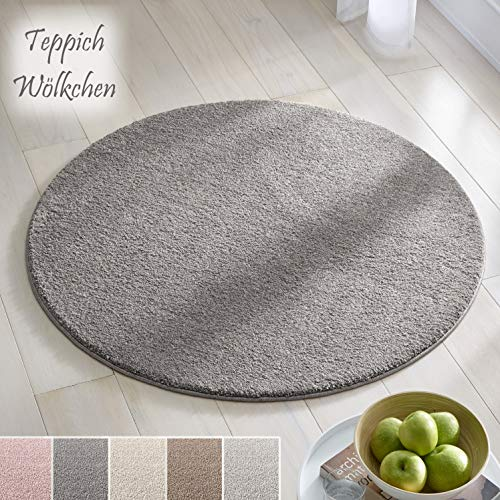 Teppich Wölkchen Kurzflor Teppich I Flauschige Flachflor Teppiche fürs Wohnzimmer, Esszimmer, Schlafzimmer oder Kinderzimmer I Einfarbig I Dunkelgrau - 120 rund