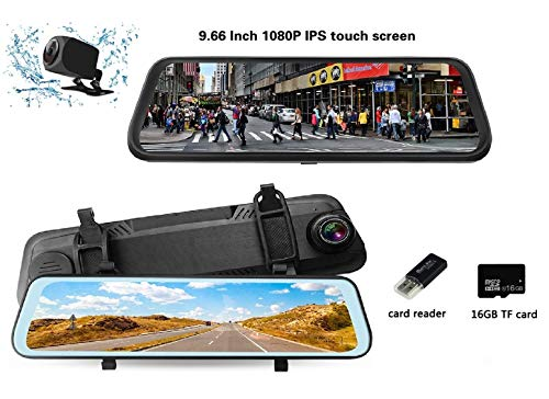 """PGTC Best Car Backup Camera 9.66"""" Mirror Dash Cam Touch Screen 1080P Rearview Front and Rear Dual Lens with HD Waterproof Reversing Camera 170° Lens Angle Night Vision with 16GB TF Card Included"""
