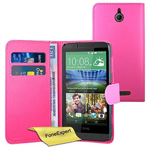 FoneExpert® Wallet Hülle Flip Cover Hüllen Etui Ledertasche Lederhülle Premium Schutzhülle für HTC Desire 510 + Bildschirmschutzfolie (Wallet Rosa)