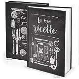 Logbuch-Verlag libro ricette ricettario A4 personalizzabile DIY vuoto italiano bianco nero copertina rigida regalo cucina