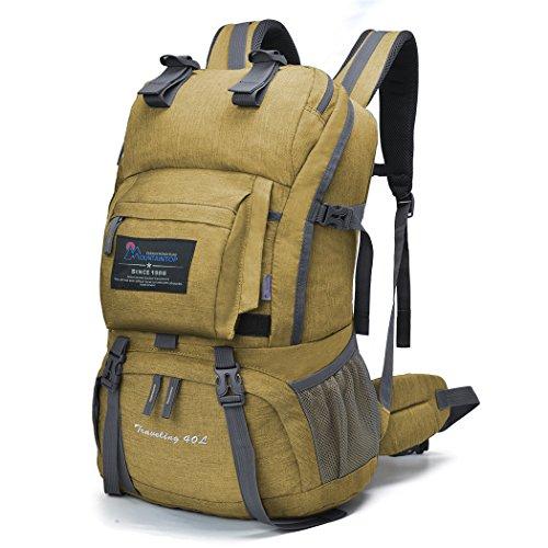 マウンテントップ(Mountaintop) アウトドア バックパック 登山リュック 40L 大容量 リュックサック 登山用バッグ ハイキングバッグ 防水 レインカバー付き (カーキ40L)