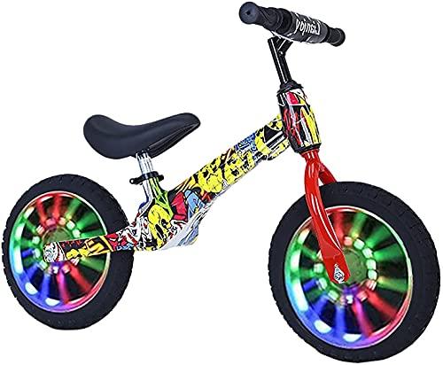 Bicicleta de Equilibrio para niños, Marco de aleación de magnesio Ligero, Bicicleta de Entrenamiento para niñas/niños/Principiantes, Edad 2-3-4-5-6 años, neumáticos de Aire de 12/14 Pulgadas, a,