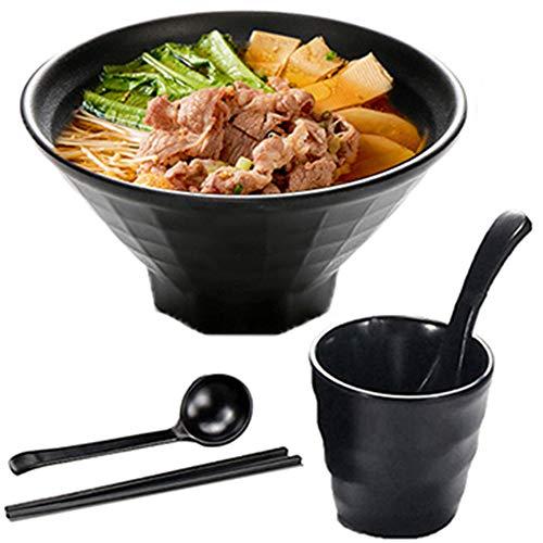 MWDY Cuenco Ramen Japones, Hogar Y Tazones De Consomé Ensaladeras Cuencos De Cereales Cuencos De Pasta 1000Ml 5Piezas con Cuchara Y Palillos