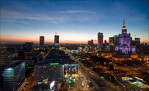 5D DIY pełne okrągłe wiertło obraz diamentowy, sceneria miasta Warszawa, wystrój domu prezent bez ramy 40 x 50 cm