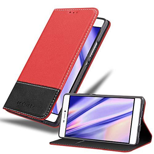 Cadorabo Funda Libro para Huawei P8 en Rojo Negro - Cubierta Proteccíon con Cierre Magnético, Tarjetero y Función de Suporte - Etui Case Cover Carcasa
