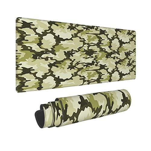 Patrón en tonos verdes del ejército alfombrilla de ratón, alfombrilla de ratón de anime para el trabajo de 31.6 x 11.8 pulgadas