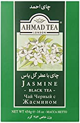 Green package with white writing saying jasmine black tea by Ahmad Tea company, London.