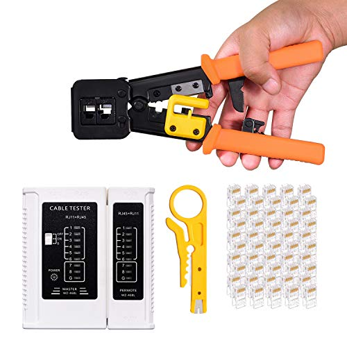 RJ45 Crimping Tool Kit,Crimp Tool(Orange) with 1 Network Wire Stripper, 1 Cable Tester and 50 Pack RJ45 Cat6 Connectors, Professional Computer Maintenacnce LAN Cable Tester Network Repair Tool Set