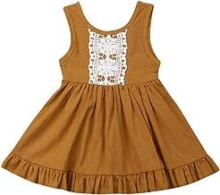 Toddler Baby Sister Girls Tank Dress Solid Sleeveless Vest Lace Princess Dress Summer Casaul Backless Midi Dresses
