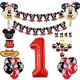 1er Cumpleaños Bebe Globos Decoracion de Mickey Mouse Cumpleaños 1 Año Bebe Niño Bolas de Nido de Abeja de Mickey Globo de Red Black, Banner de Happy Birthday